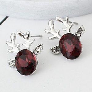 Maroon Reindeer Stud Earrings